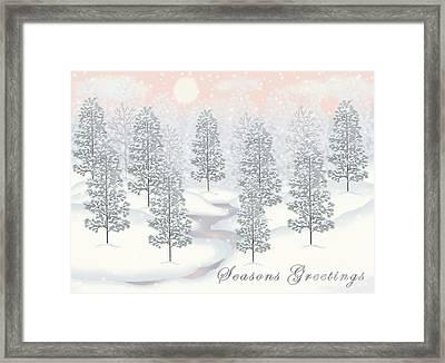Snowy Day Winter Scene Seasons Greetings Christmas Card Framed Print