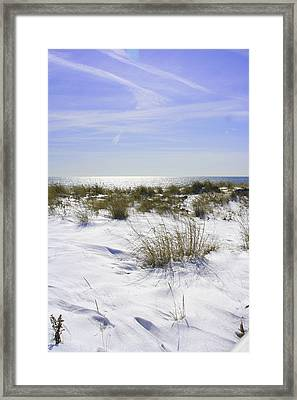 Framed Print featuring the photograph Snowy Dunes by Karen Silvestri