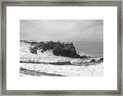 Framed Print featuring the photograph Snowy Dunluce 12/02/14 by Roy  McPeak