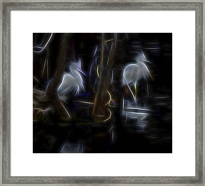 Framed Print featuring the digital art Snowy Egrets 1 by William Horden
