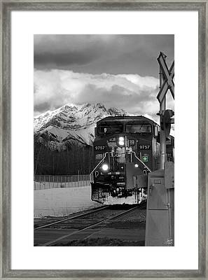 Snowy Engine Through The Rockies Framed Print by Lisa Knechtel
