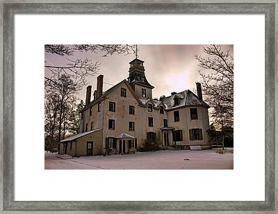 Snowy Evening At Batsto Mansion Framed Print by Kristia Adams