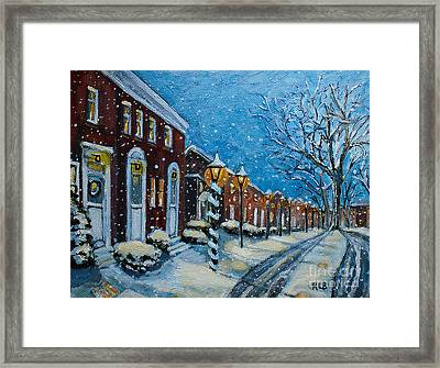 Framed Print featuring the painting Snowy Evening In Garden Crest by Rita Brown
