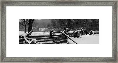 Framed Print featuring the photograph Snowy Fence by Michael Porchik