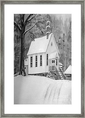 Snowy Gates Chapel -white Church - Portrait View Framed Print