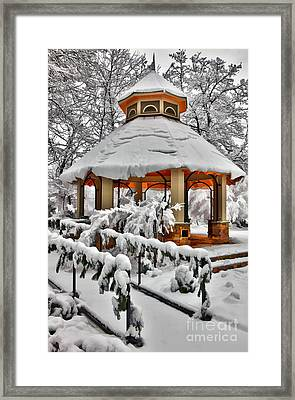 Snowy Gazebo - Greensboro North Carolina I Framed Print by Dan Carmichael