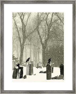 Snowy Graveyard Crows Framed Print