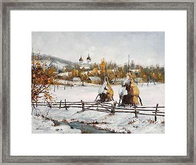 Snowy Haystacks Framed Print by Petrica Sincu
