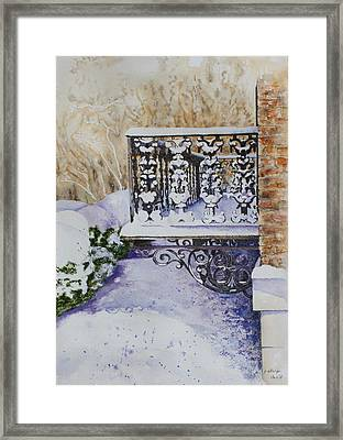 Snowy Ironwork Framed Print by Patsy Sharpe