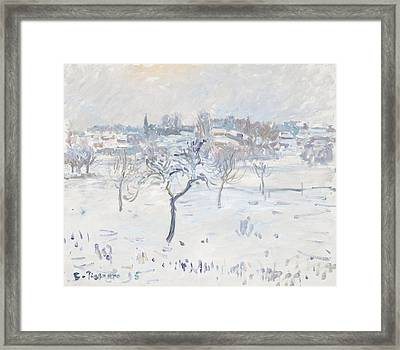 Snowy Landscape At Eragny With An Apple Tree Framed Print
