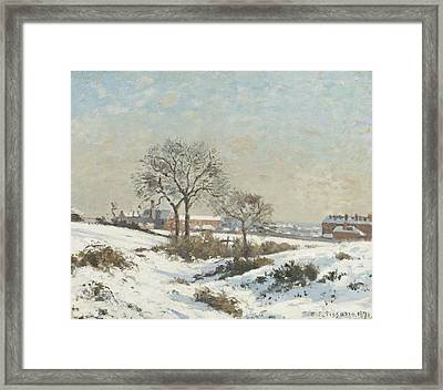 Snowy Landscape At South Norwood Framed Print by Camile Pissarro