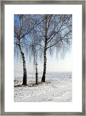 Snowy Landscape With Birches And Wayside Cross Framed Print
