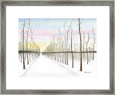 Framed Print featuring the drawing Snowy Lane by Arlene Crafton