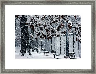 Framed Print featuring the photograph Snowy Leaves by Andy Lawless