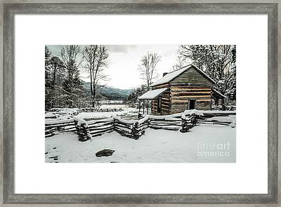 Framed Print featuring the photograph Snowy Log Cabin by Debbie Green