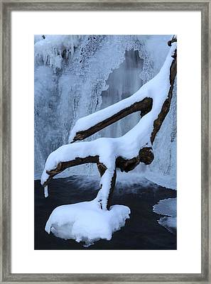 Snowy Log Frozen Canyon Waterfall Framed Print by John Stephens