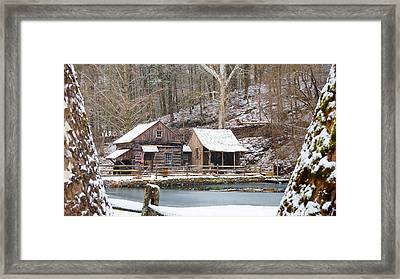 Snowy Morning In The Woods Framed Print by William Jobes