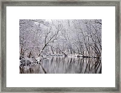 Snowy Morning On Wissahickon Creek Framed Print by Bill Cannon