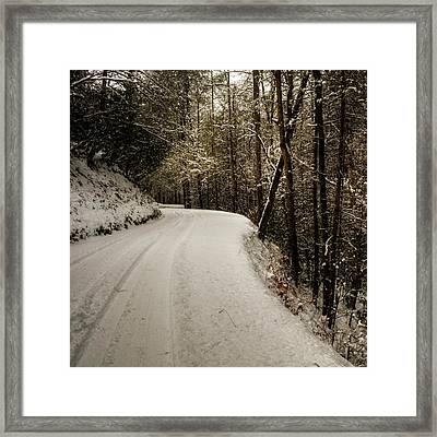 Snowy Mountain Road Square Framed Print