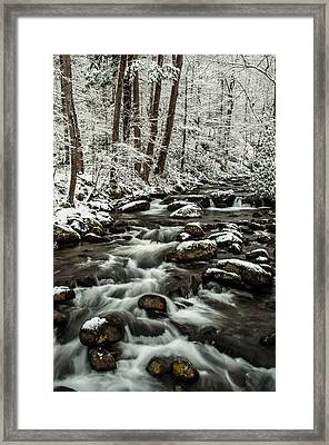 Framed Print featuring the photograph Snowy Mountain Stream by Debbie Green