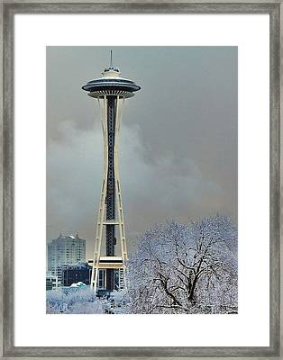 Snowy Needle Framed Print by Benjamin Yeager