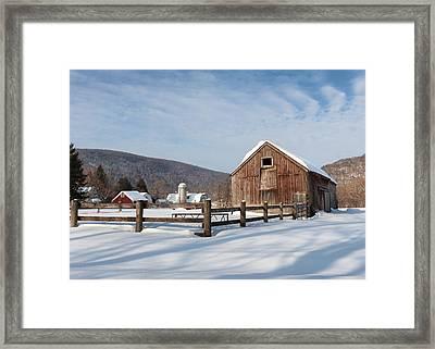 Snowy New England Barns Framed Print by Bill Wakeley