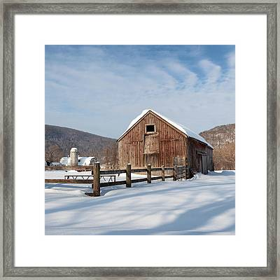 Snowy New England Barns Square Framed Print by Bill Wakeley