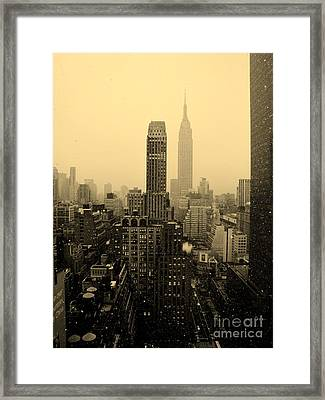 Snowy New York Skyline Framed Print