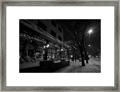 Snowy Night In Burlington Framed Print by Mike Horvath