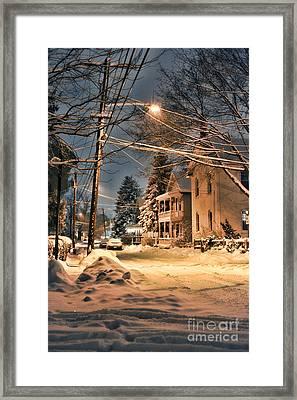 snowy night in Northampton Framed Print