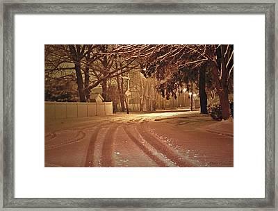 Snowy Night Framed Print by Mikki Cucuzzo