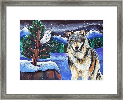 Snowy Night Wolf Framed Print by Harriet Peck Taylor