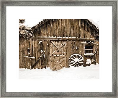Snowy Old Barn Framed Print