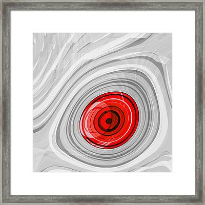 Snowy Owl - Left Eye - Red Framed Print