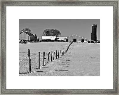 Snowy Pastoral Scene  At The Sheep Farm Framed Print by Thomas Camp
