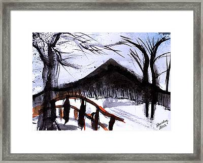 Snowy Path Framed Print by Shelley Bain