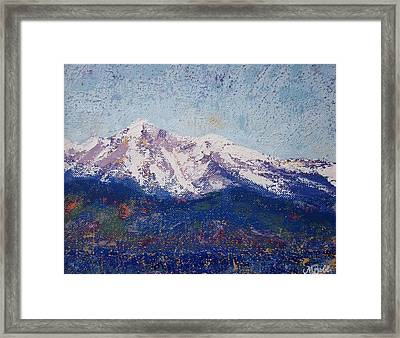Framed Print featuring the painting Snowy Peaks by Margaret Bobb