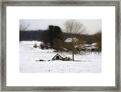 Snowy Pennsylvania Farm Framed Print by Bill Cannon