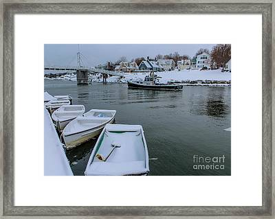Snowy Perkins Cove Framed Print by Joe Faragalli