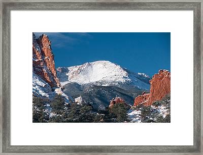 Snowy Pikes Peak Framed Print