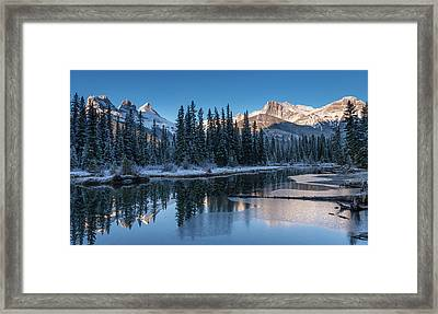 Snowy Pond With Mountains Framed Print