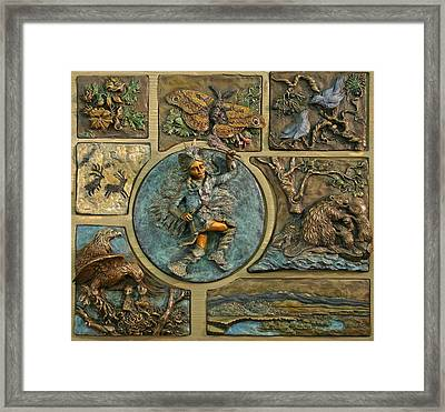 Framed Print featuring the relief Snowy Range Life - Small Panel by Dawn Senior-Trask