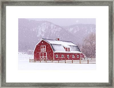 Snowy Red Barn Framed Print