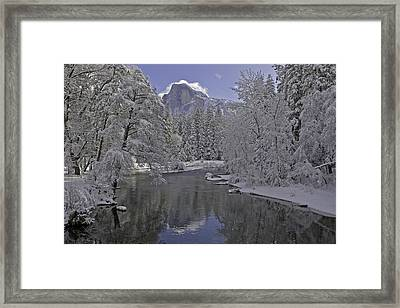 Snowy River And Half Dome Framed Print