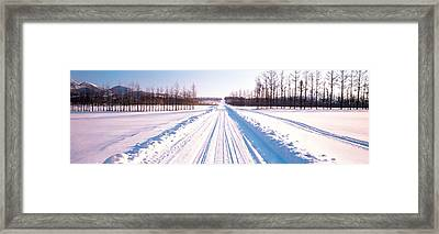 Snowy Road Hokkaido Shari-cho Japan Framed Print by Panoramic Images