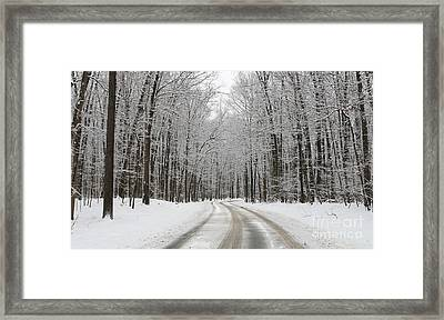 Snowy Road In Oak Openings 7058 Framed Print by Jack Schultz