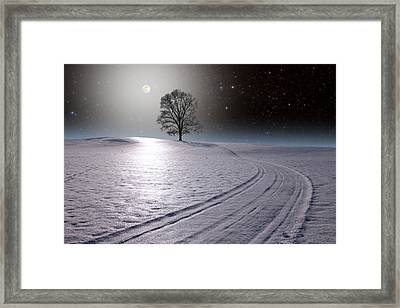 Framed Print featuring the photograph Snowy Road by Larry Landolfi
