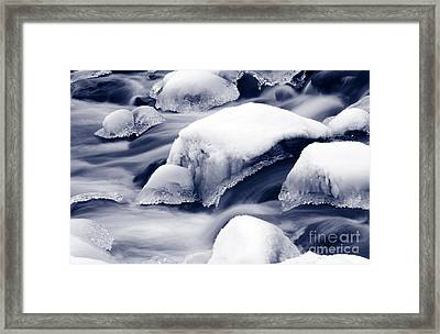 Framed Print featuring the photograph Snowy Rocks by Liz Leyden