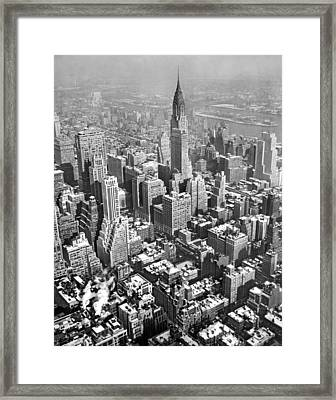 Snowy Roofs In New York City Framed Print by Underwood Archives