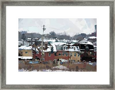 Snowy Roofs Framed Print by Jay Ressler